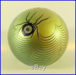 Orient & Flume Gold Iridescent Black Widow Spider Flower Art Glass Paperweight