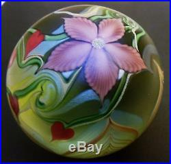 Orient & Flume Hearts Flower Pulled Leaf Glass Paperweight Numbered & Dated 1981