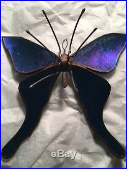 Orient & Flume Signed Butterfly on Iridescent Blue 1977