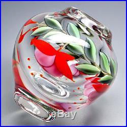 Orient & Flume Sillars Studio Art Glass Fuchsia Paperweight Cabinet Vase