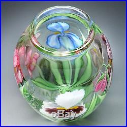 Orient & Flume Studio Art Glass Iris Flowers Paperweight Vase