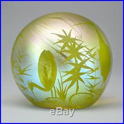 Orient & Flume Studio Art Glass Lubomir Richter Intaglio Iridescent Paperweight