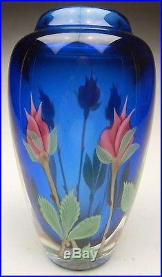 Orient and Flume Art Glass 8 Vase Pink Rose Bud Bouquet Cobalt by Scott Beyers