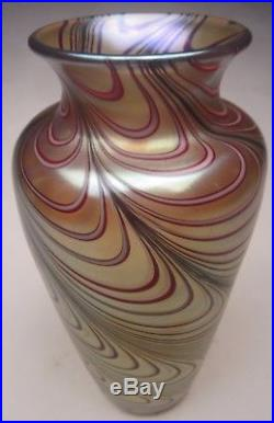Orient and Flume Art Glass 9 ¼ vase Gold and Red Swirled Feather, Scott Beyers
