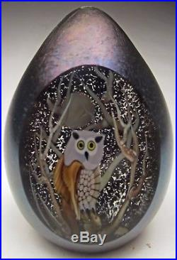 Orient and Flume Art Glass Egg Paperweight Window Scene Owl by Moon 4 ½ tall