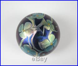 Orient and Flume Art Glass Paperweight Iridescent Silver with Purple Blue