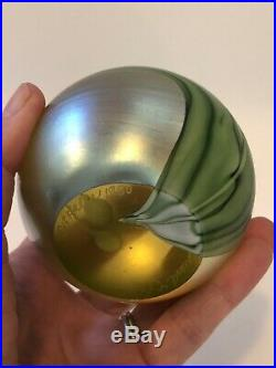 Orient and Flume Art Glass Paperweight with Bee 1980 Signed 1980 Gold Leaves