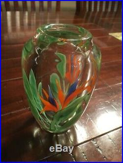 Orient and Flume Bird of Paradise blown glass vase/paperweight
