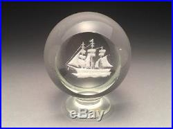 Outstanding Millville Art Glass Faceted Sailing Ship Paperweight