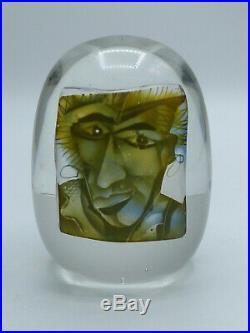PAPERWEIGHT BRIEFBESCHWERER GESICHT GLAS STANISLAW BOROWSKI c. 1990