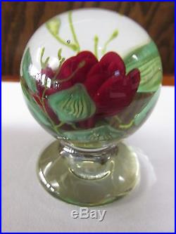 PAPERWEIGHT MINI CRIMP Red ROSE Leaves & stem Pedestal SIGNED Outstanding Detail