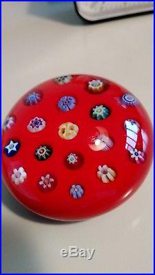 PARABELLE Glass 1990 millefiore Chinese red paperweight