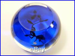 PAUL J STANKARD Paperweight 1981 Cobalt Blue Flower Orchid Presse Papier