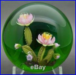 PAUL STANKARD Gorgeous Pink Flowers Bloom Art Glass Paperweight, Apr 3(diameter)
