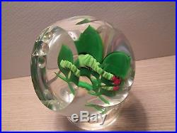 Perthshire Glass Paperweight Caterpillar On Leaves