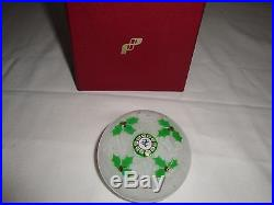 PERTHSHIRE Paper weight Christmas white with green holly Very Very rare find
