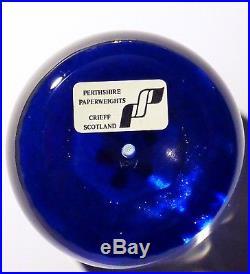 PERTHSHIRE / SCOTLAND PINK FLOWER & BUD Paperweight Briefbeschwerer Sulfure MINT