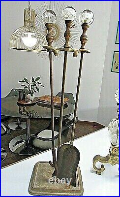 POSH Joe Zimmerman ART GLASS St Clair PAPERWEIGHT Brass FIREPLACE TOOLS Set Vtg