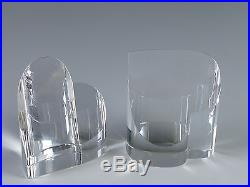 Pair Steuben Art Glass Crystal Heart Point Up & Down Form Paperweights