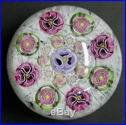 Parabelle Glass Paperweight Massive 3 1/4 Rose & Pansy on Muslin AP