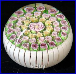 Parabelle Glass Paperweight Massive 3 1/4 Roses in Stave Basket RARE TYPE AP