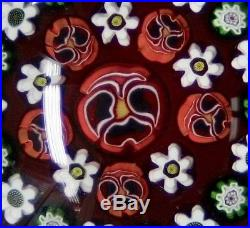 Parabelle Glass Paperweight Striking Red Concentric Cogs & Pansy Canes AP 3