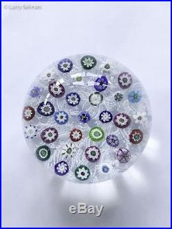 Parabelle Glass Scattered Millefiori Paperweight on Lace Signed PB 1992