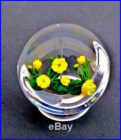 Paul Stankard 1979 Limited Edition Flowering Cactus On Clear Ground Paperweight