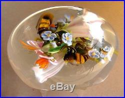 Paul Stankard Bouquet mit Honigbienen, Unikat, Paperweight, Briefbeschwerer