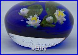 Paul Stankard Colour Ground Water Lily Paperweight