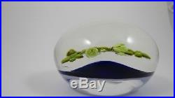 Paul Stankard Floral and Vine Lamp work Studio Art Glass Paperweight Blue Ground