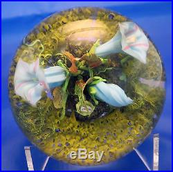 Paul Stankard Paperweight with Blue Flowers, Moss, Root Figures