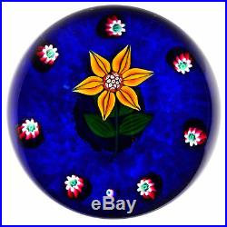 Paul YSART/Harland YellowithOrange Flower on Blue