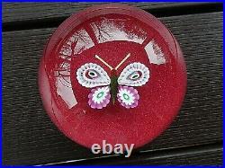 Paul Ysart Art Glass Millefiori BUTTERFLY on RED JASPER Paperweight PY Cane