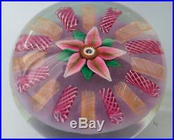 Paul Ysart Harland 1970s Flower & Lampwork Art Glass Paperweight