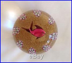 Paul Ysart Lampwork Fish Millefiori Paperweight