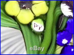 Paul Ysart Six Flower Bouquet on Latticinio Stave Basket Ground Paperweight