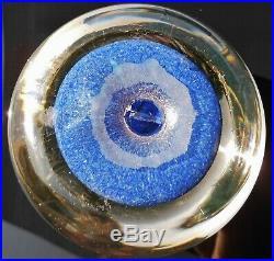 Paul Ysart Super Magnum 3.3/8 Complex Millefiori Panel Paperweight Blue Jasper