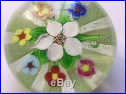 Paul Ysart Ultra Rare Signed Lattacino Cane Flower Paperweight