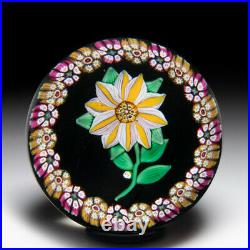 Paul Ysart double-tiered clematis and millefiori garland glass art paperweight
