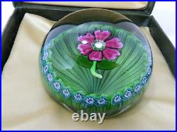 Perthshire Art Glass Millefiori Paperweight Floating Flower P Cane Center Boxed