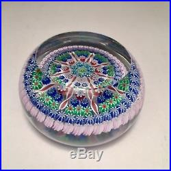Perthshire Art Glass Studio Millefiori Cane Paperweight 3 Scotland EUC P Mark