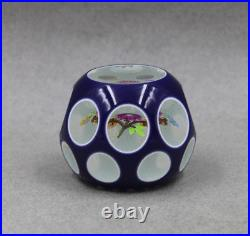 Perthshire Cobalt Flash Overlay Cut To Clear Lampwork Floral Faceted Paperweight