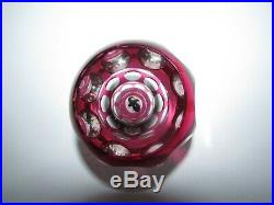 Perthshire Cranberry Overlay Performing Circus Seal Art Glass Paperweight 605