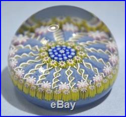 Perthshire Hand Blown Millefiori & Spiral Ribbons Glass Paperweight Late 20th C