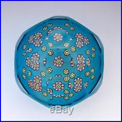 Perthshire LE 1993D millefiori signed glass paperweight / presse papiers