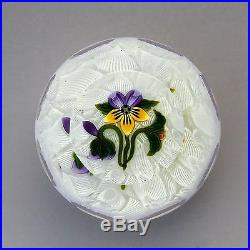 Perthshire LE 1994A Pansy glass paperweight + box + cert / presse papiers