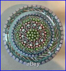 Perthshire Millefiori Paperweight Purple, Pink, and Green with Twist