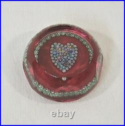Perthshire Multi-Faceted Millefiori Heart on Red Ground Paperweight