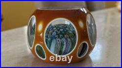 Perthshire Paperweight 1981H Amber Double Overlay Closepack Millefiori LE EC